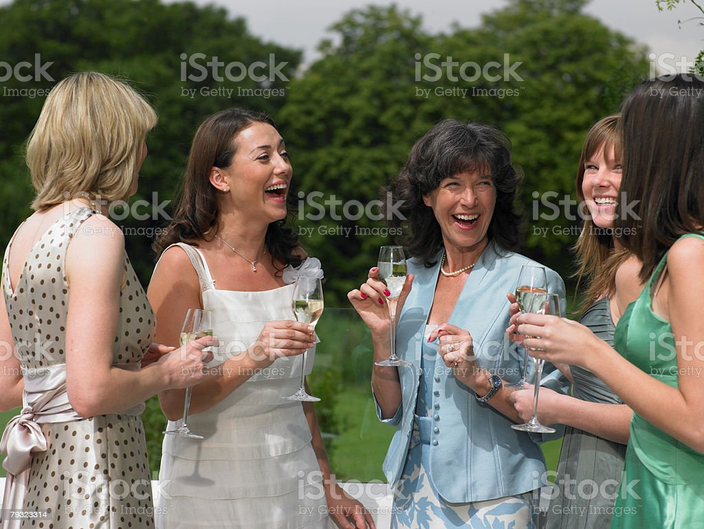 The bride and female wedding guests stock photo