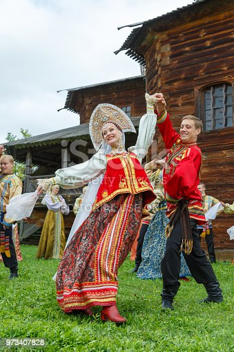 Suzdal, Russia - August 14, 2016: International Quilt Festival in Suzdal 'Soul of Russia'. Reconstruction of the traditional Russian wedding. The bride and groom in traditional Russian costumes.