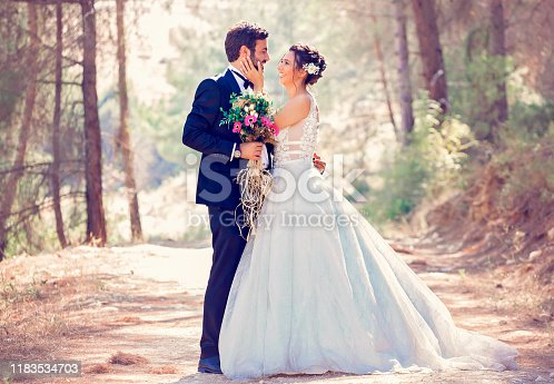 The bride and groom posing in nature. Portrait of an attractive couple in forest. Wedding ceremony. Newlyweds getting married outdoors. Retro style photos.