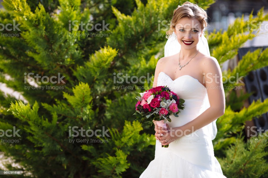 The bride in a narrow dress poses near a green maiden and enjoys the rays of the sun. the girl openly smiles, she has flowers in her hands, rewound with a pink ribbon zbiór zdjęć royalty-free
