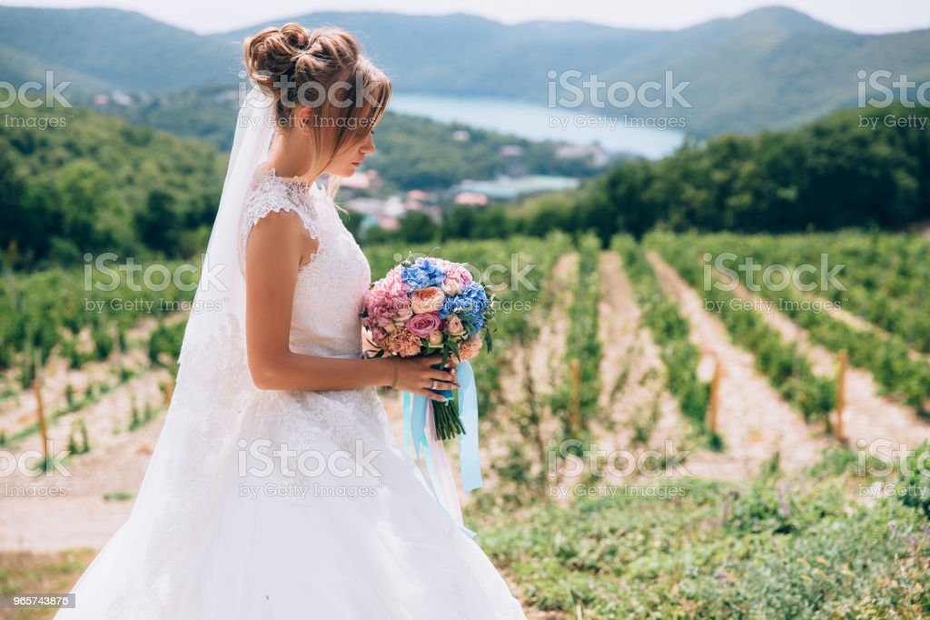 The bride in profile on a background of beautiful greenery and sky admires her wedding bouquet - Royalty-free Adult Stock Photo