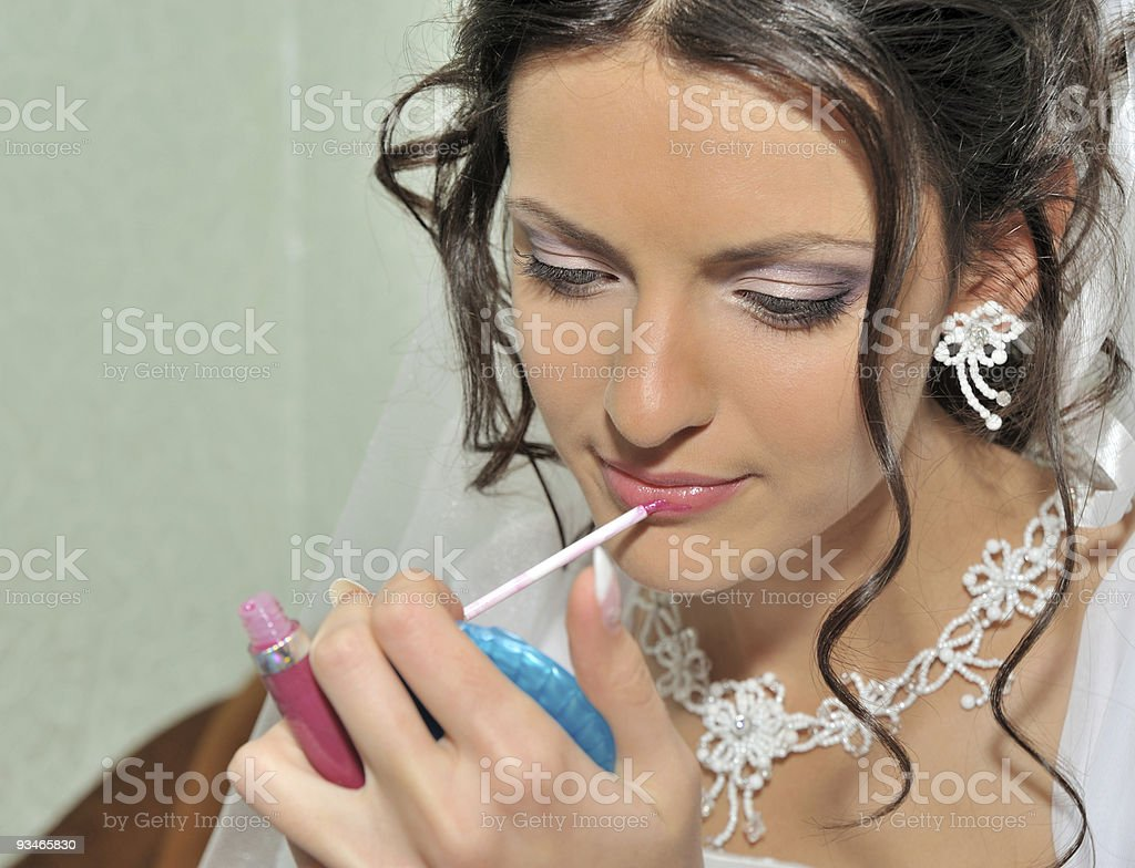 The bride making up royalty-free stock photo