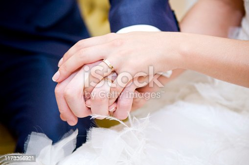 the bride s hand with a wedding ring lies on the groom s hand with a wedding ring on it. Against the background of a white dress and a dark blue jacket. Close-up