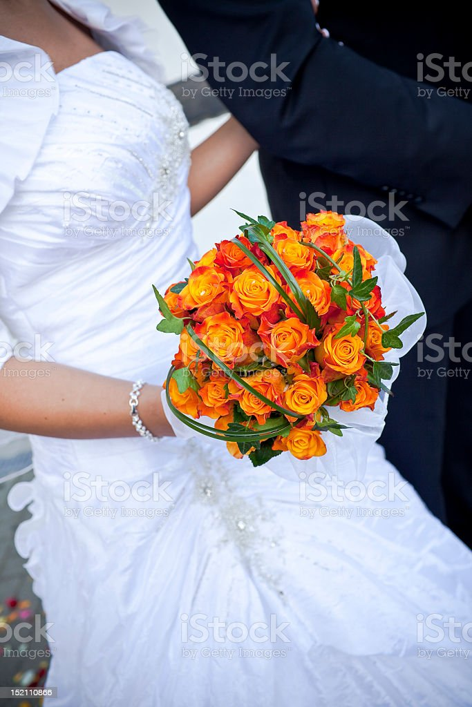 The bride with a wedding bouquet royalty-free stock photo
