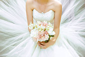 Bouquet of the bride in a magnificent white dress.
