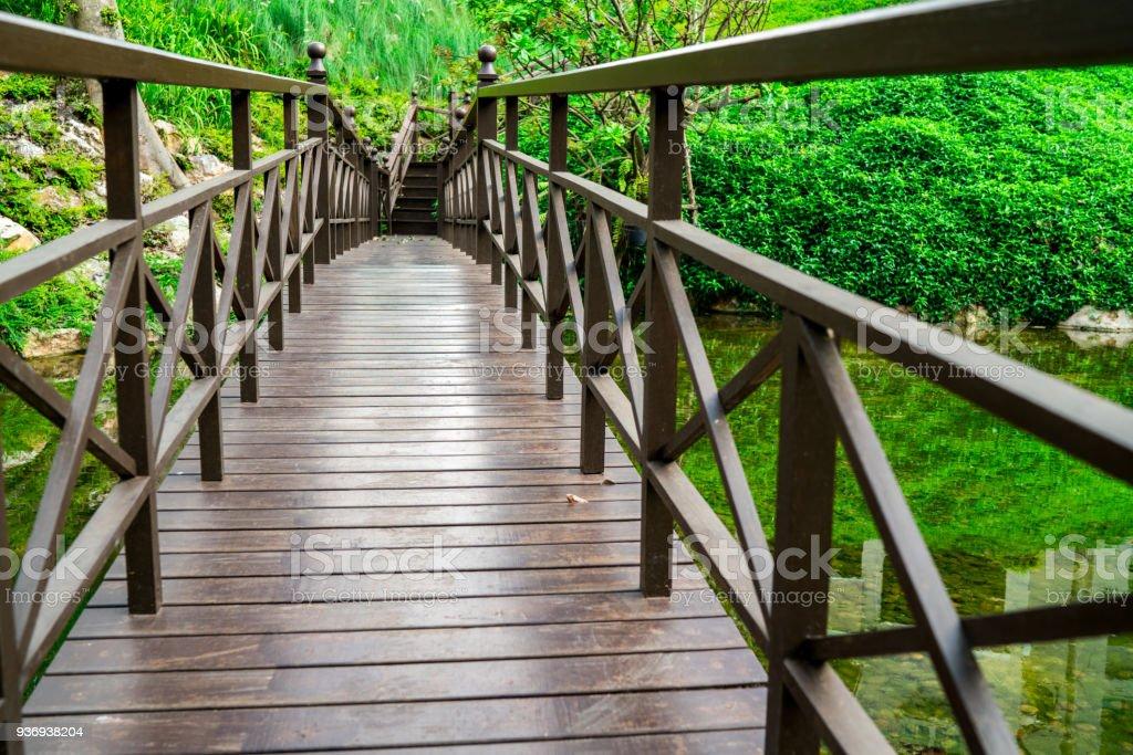 Die Brücke Gebaut Schöne Holzbrücke Hintergrund Ist Grünen Garten Im