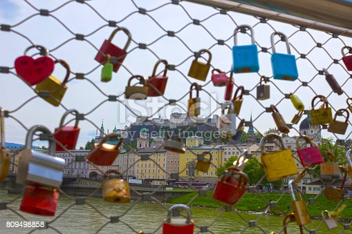 istock The bridge fence covered with locks in Salzburg 809498858