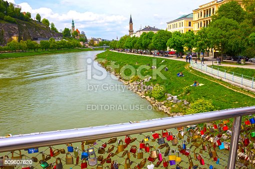 istock The bridge fence covered with locks in Salzburg 809607620
