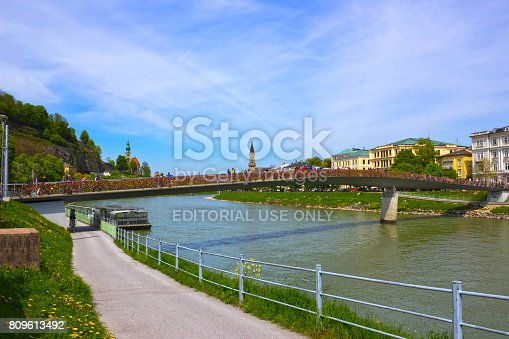istock The bridge fence covered with locks in Salzburg 809613492