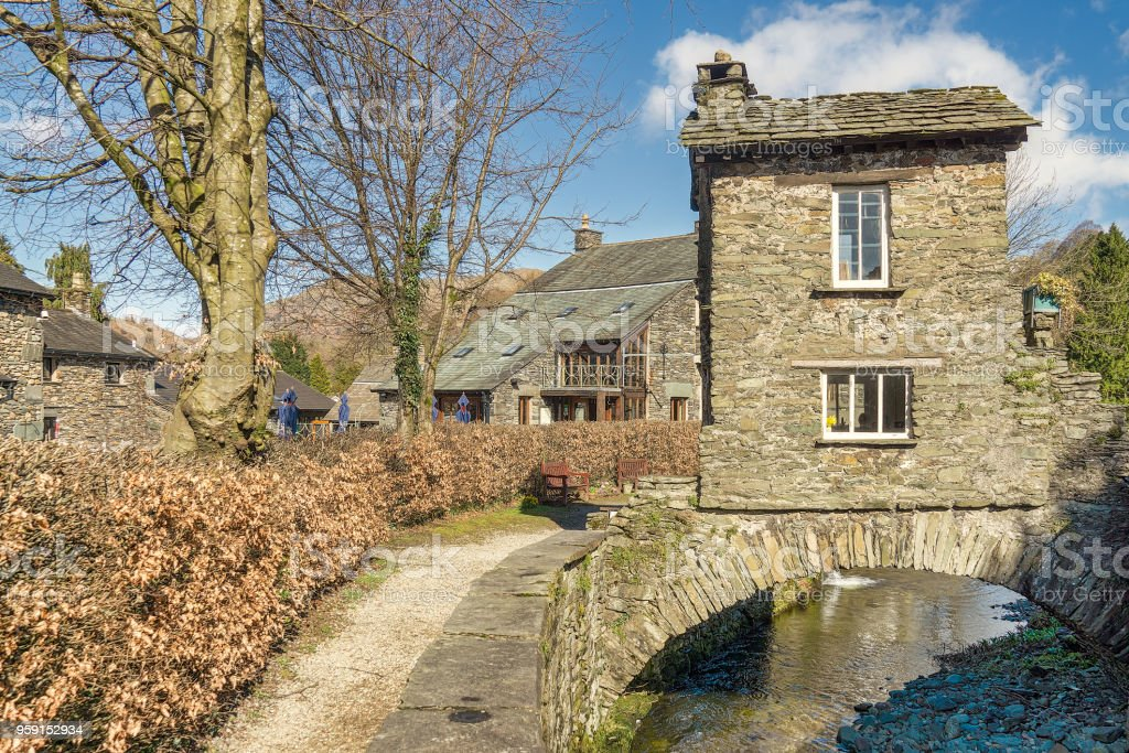 The Bridge House, Ambleside. A well known tourist attraction stock photo