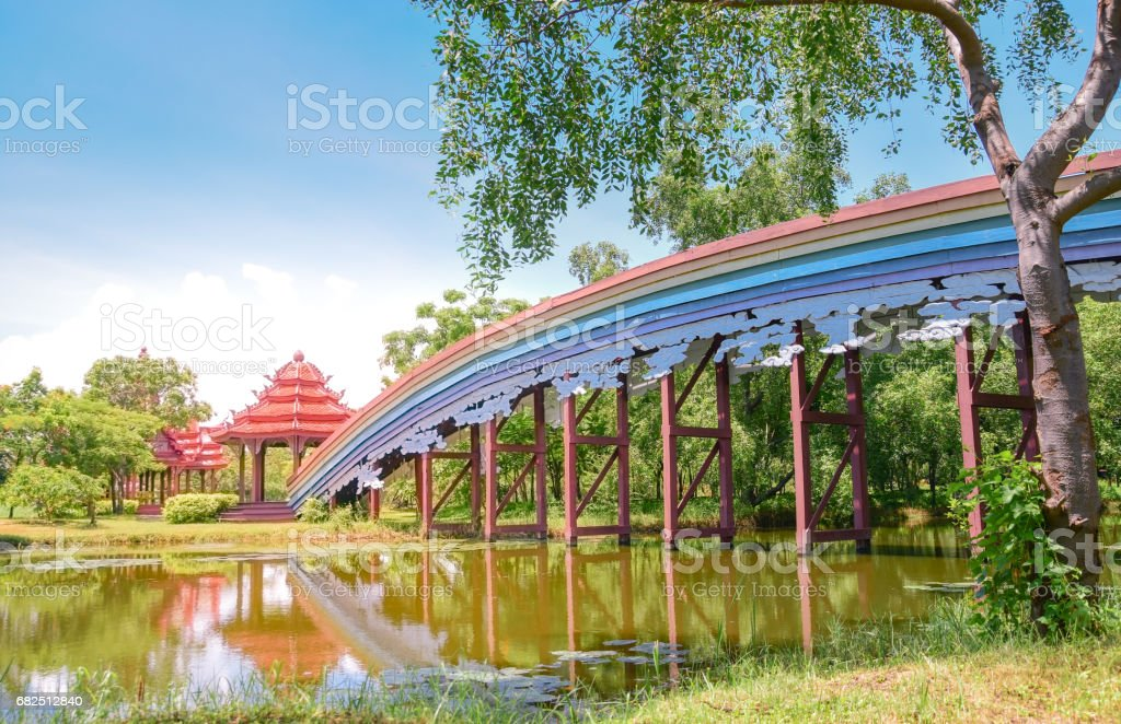 The bridge in Ancient City Province Thailand royalty-free stock photo