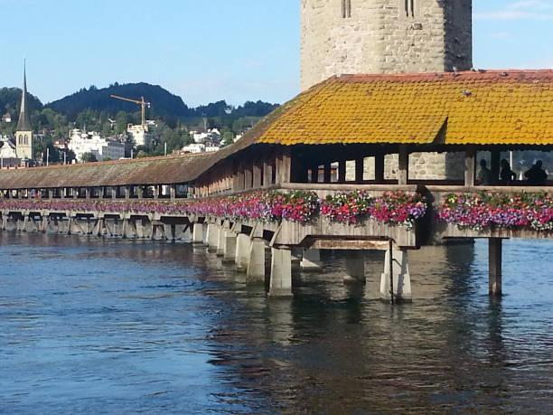 The Bridge in Luzern stock photo
