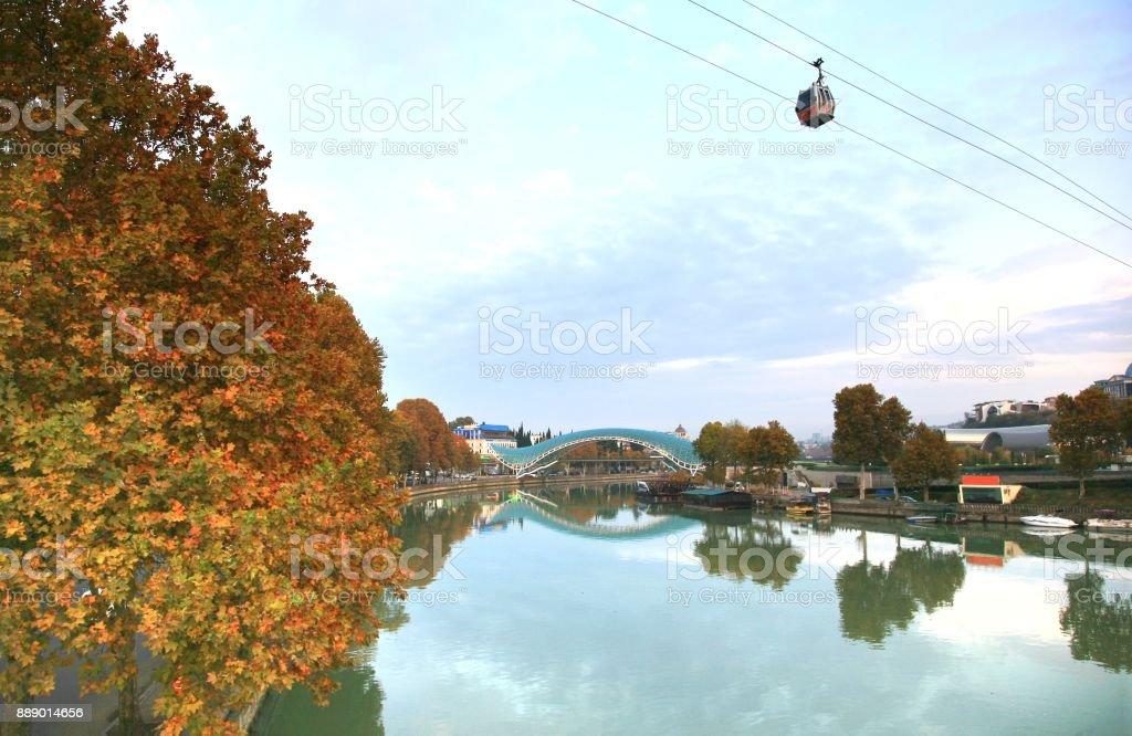 The Bridge of Peace is a bow-shaped pedestrian bridge  at Tbilisi, Georgia stock photo