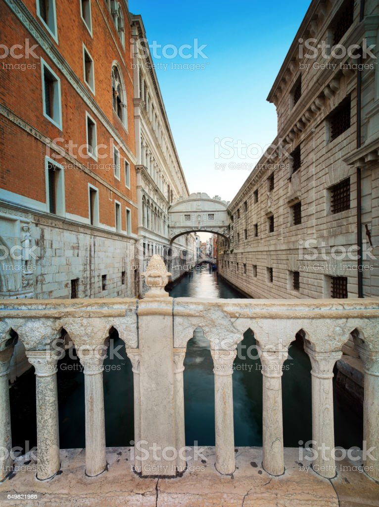 The Bridge of Sighs in Venice, Italy stock photo