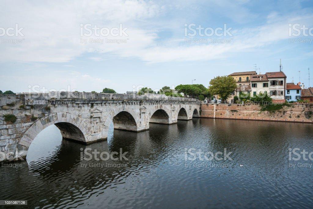 The Bridge of Tiberius in Rimini, Italy stock photo