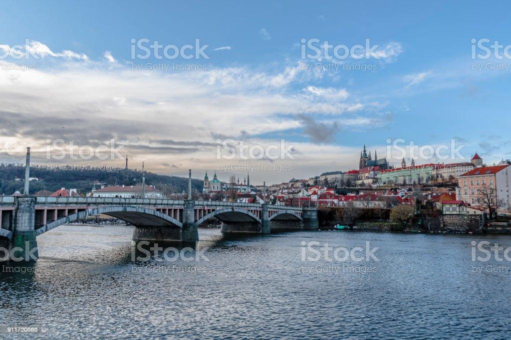 The bridge over the river Vltava stock photo