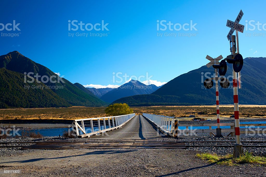 The Bridge Over The Waimakariri River stock photo