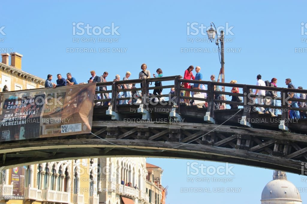 The bridge Ponte dell Accademia, Venice, Italy. stock photo