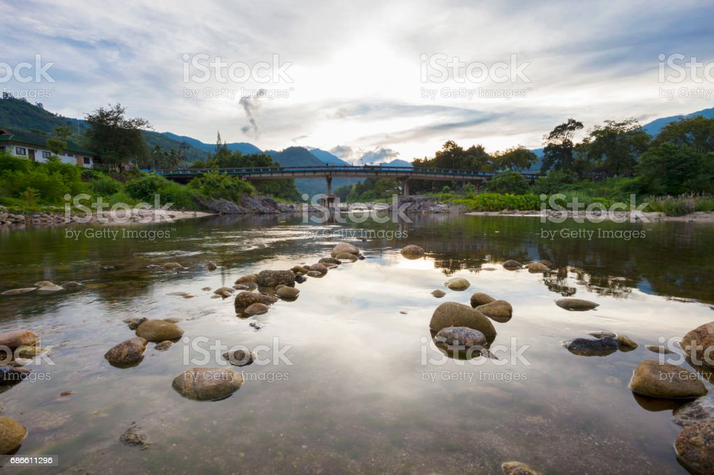 the bridge,landscape of kiriwong the best ozone village in nakhon si thamarat Thailand. royalty-free stock photo