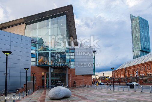 Manchester, United Kingdom - April 25, 2019: The Bridgewater Hall facing the Manchester Central Conference Centre. The Bridgewater Hall is an international concert venue in Manchester city center.