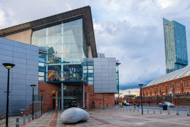 The Bridgewater Hall facing the Manchester Central Conference Centre. The Bridgewater Hall is an international concert venue in Manchester city center. stock photo