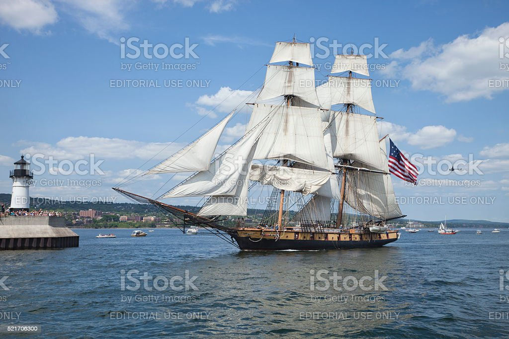The brig Niagara enters Duluth harbor during the Tall Ships Festival stock photo