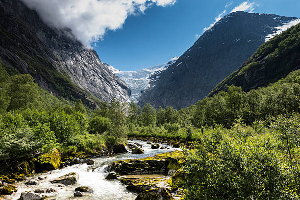 The Briksdal glacier - Olden, Norway stock photo