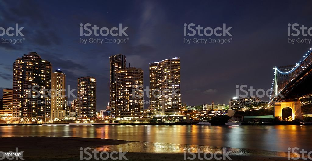 The Brisbane skyline at dusk stock photo