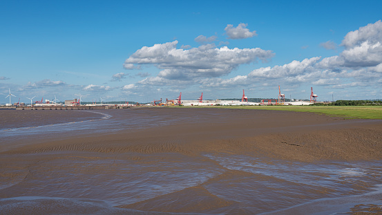 Portishead, North Somerset, England, UK - June 08, 2019: Looking from the Quay towards the Bristol Channel and the Bristol Port