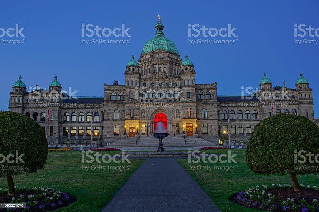 The British Columbia Legislature in Victoria Canada royaltyfri bildbanksbilder