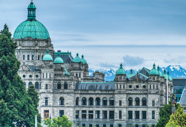 the british columbia parliament buildings, located in victoria, vancouver island, bc, canada. home to the legislative assembly of the province. - british columbia stock photos and pictures