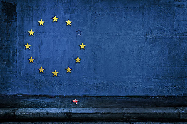 The British exit from eurozone Brexit- European Union flag stock photo