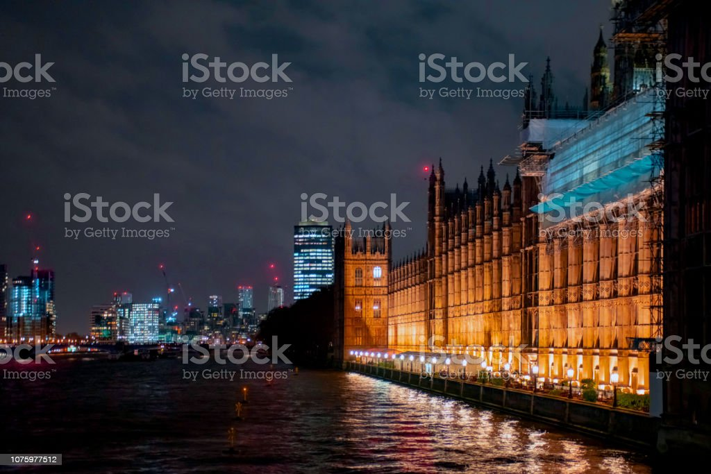 The British Houses of Parliament on the North Bank of the Thames stock photo