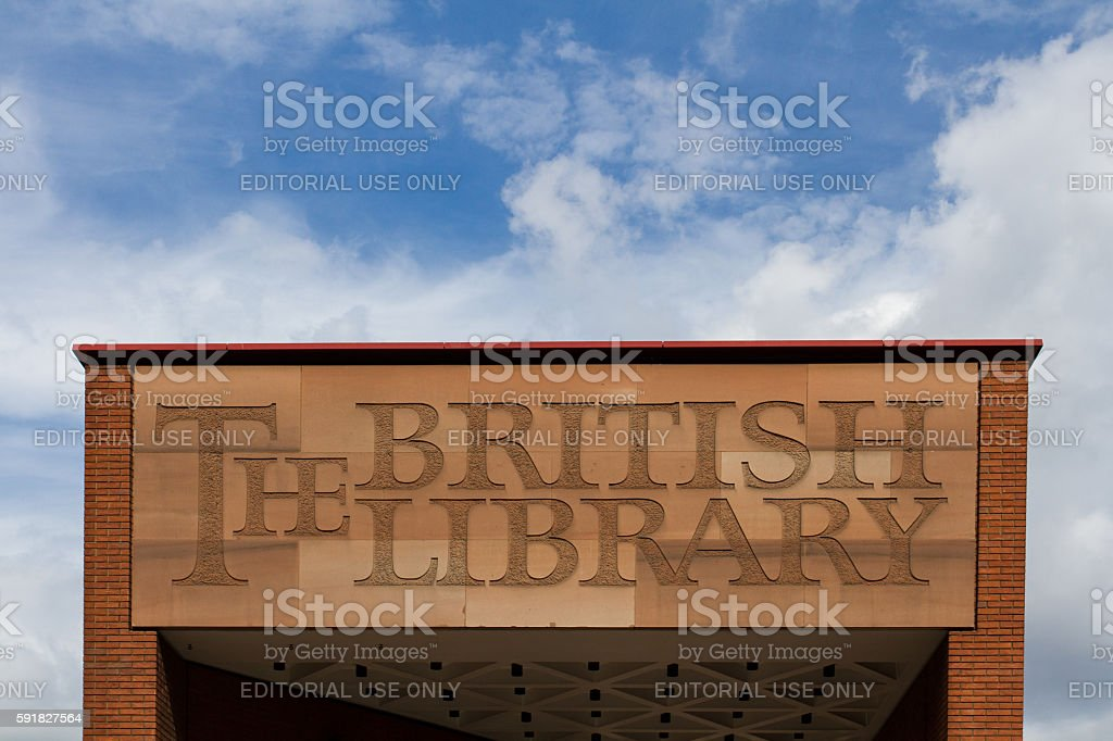 The British Library Sign stock photo