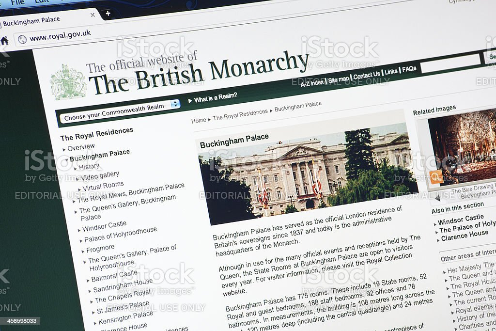 The British Monarchy Official Internet Web Site royalty-free stock photo