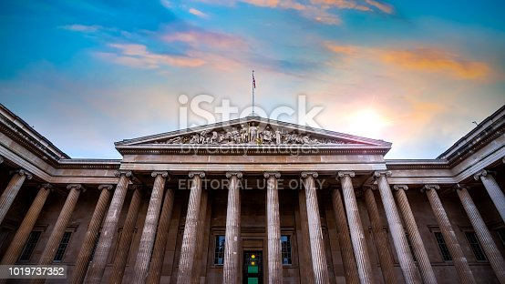London, UK - May 12 2018: The British Museum is a public institution dedicated to human history, art and culture and is among the largest and most comprehensive in existence.