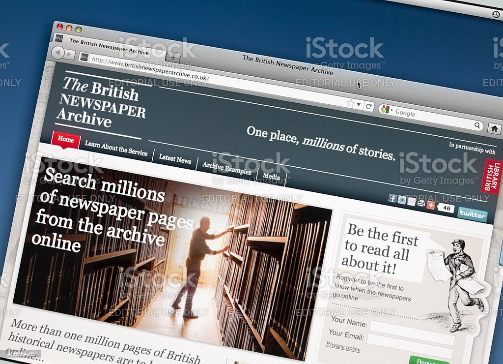 The British Newspaper Archive website royalty-free stock photo