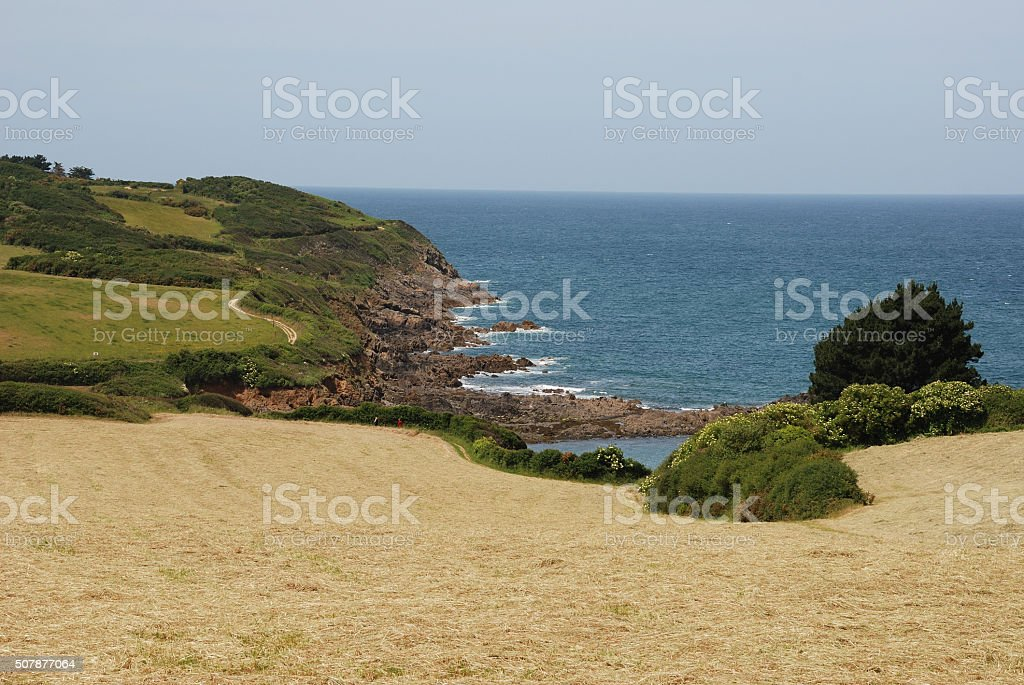 The Brittany coast to St Quay-Portrieux stock photo
