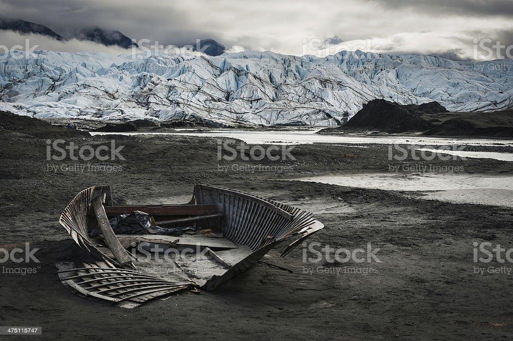 The broken boat, with Matanuska glacier in background, Alaska stock photo