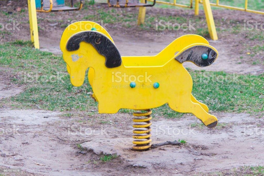 The broken child's swing. Unhappy childhood stock photo