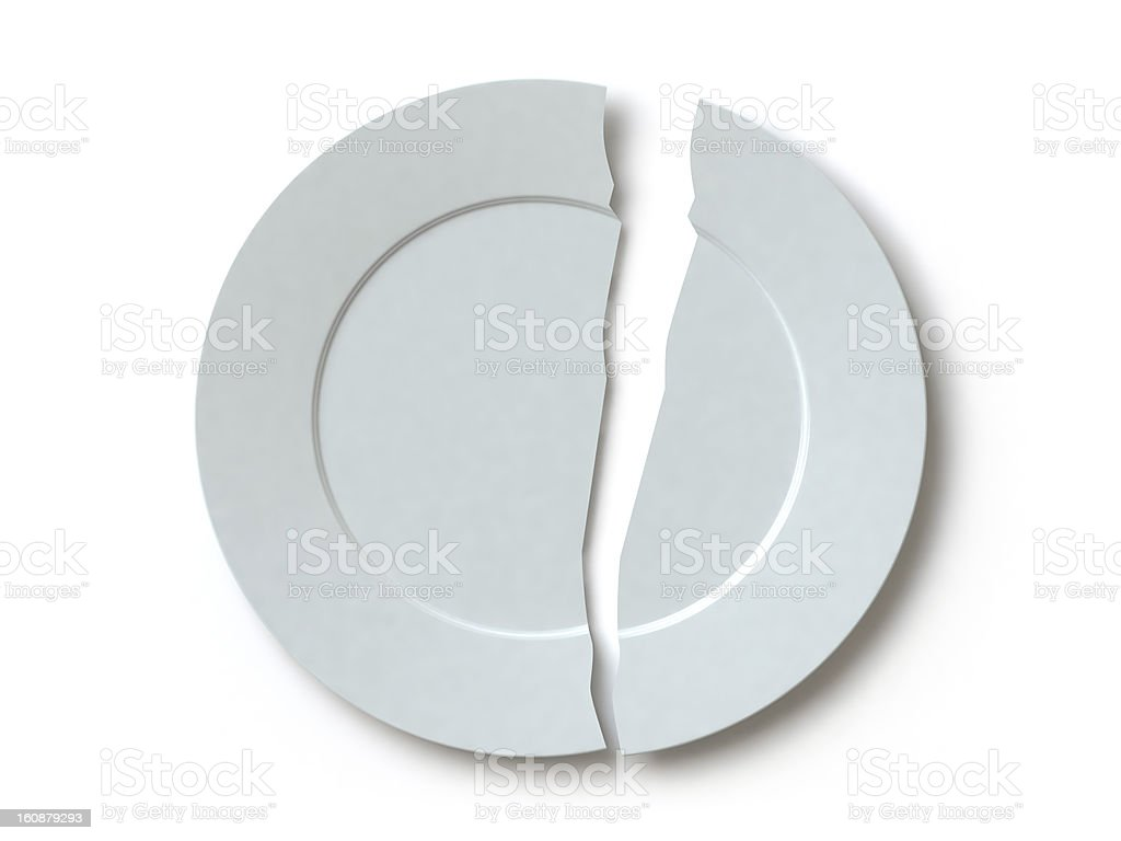 the broken plate stock photo