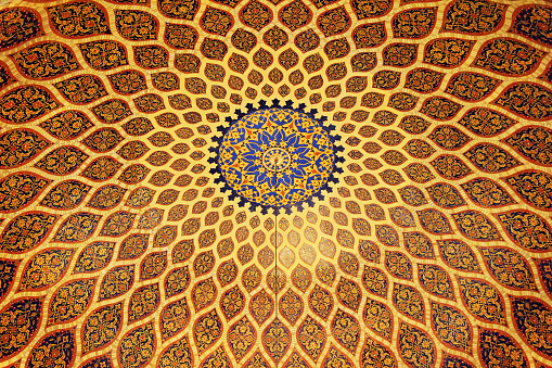 The bronze and blue ceiling in Arabic style. Dubai, UAE.
