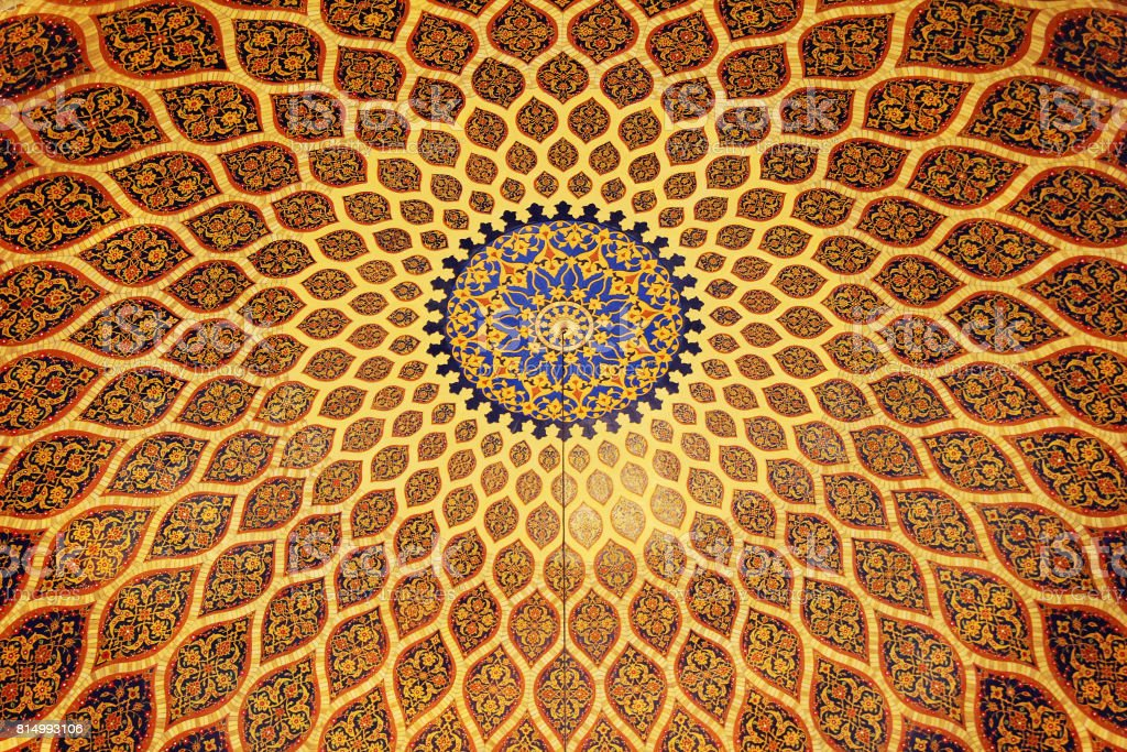 The bronze and blue ceiling in Arabic style. Dubai, UAE. stock photo