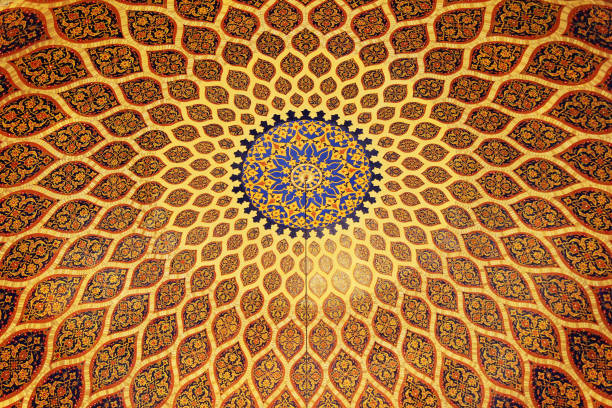 the bronze and blue ceiling in arabic style. dubai, uae. - intricacy stock pictures, royalty-free photos & images