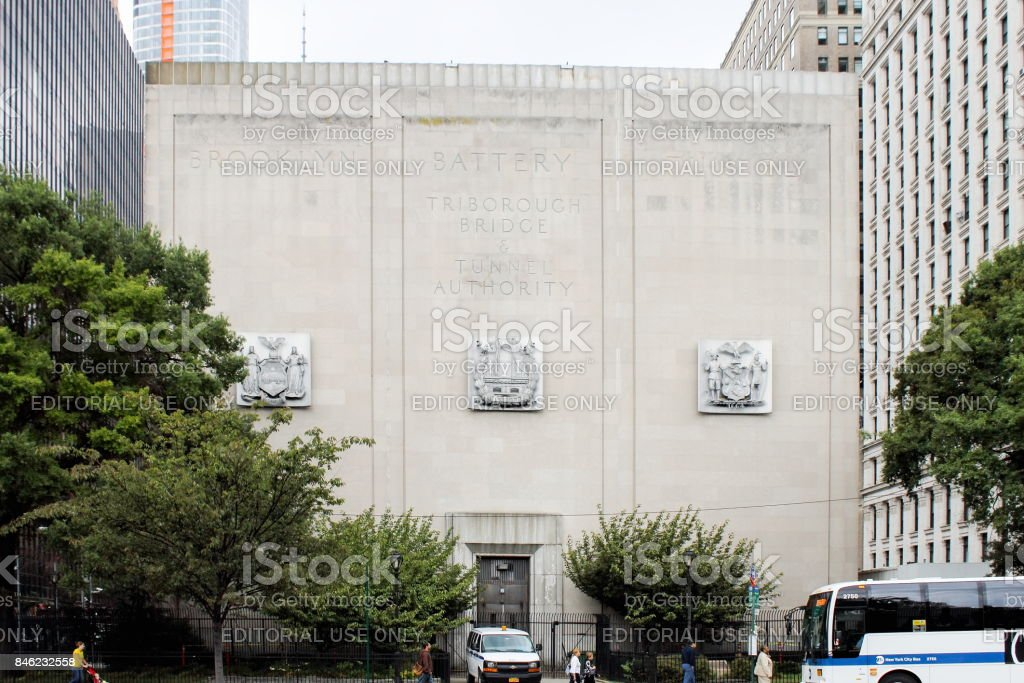 The Brooklyn Battery Tunnel officially known as the Hugh L. Carey Tunnel, is a toll tunnel in New York City that connects Red Hook in Brooklyn with Battery Park City in Manhattan. stock photo