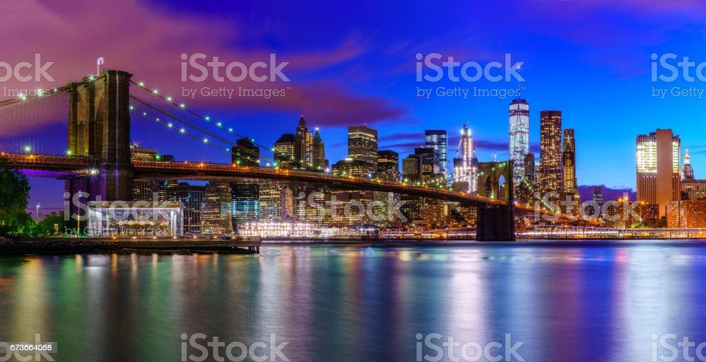 The Brooklyn Bridge and the Manhattan stock photo