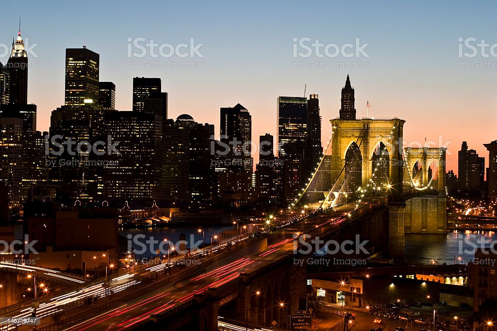 The Brooklyn bridge at dusk in New York City royalty-free stock photo