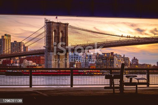 Brooklyn Bridge from under the FDR overpass in New York City, NY. USA
