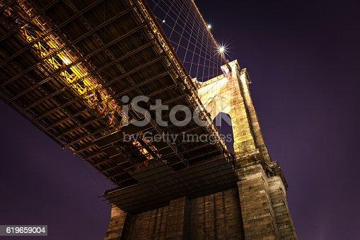 The Brooklyn Bridge shot from below. Brooklyn, NYC. USA.