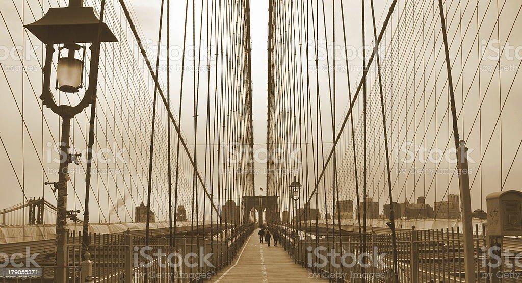 The Brooklyn Bridge Sepia royalty-free stock photo